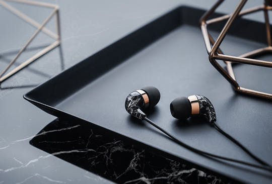 Beautiful In-Ear Earbuds with Remote and Mic (Black Marble Rose Gold) by Casetify Case