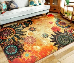 EUCH Contemporary Boho Retro Style Abstract Living Room Floor Carpets,Non-Skid Indoor/ Outdoor Large Area Rugs, Lotus